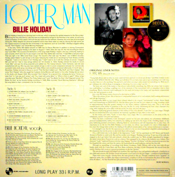 HOLIDAY, BILLIE lover man LP