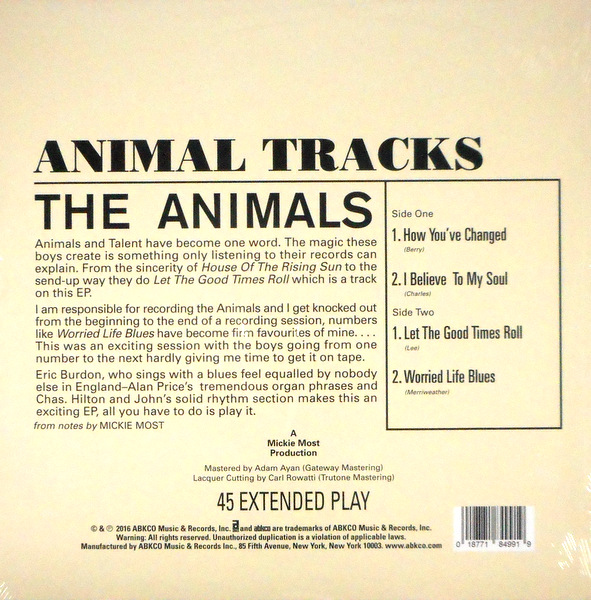 ANIMALS, THE animal tracks 10""