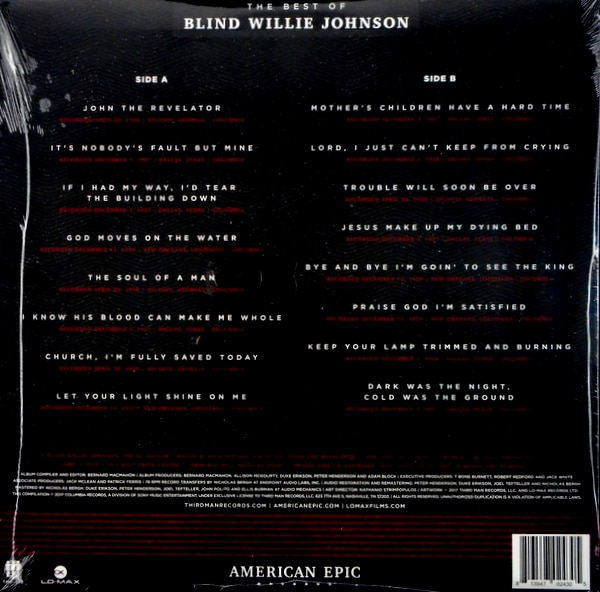 BLIND WILLIE JOHNSON the best of blind willie johnson LP