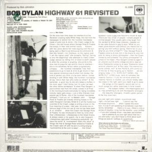 DYLAN, BOB highway 61 revisited LP back
