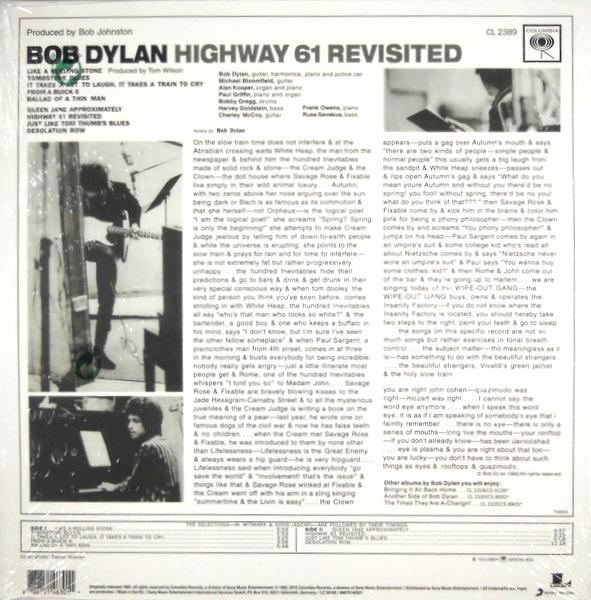 DYLAN, BOB highway 61 revisited LP back