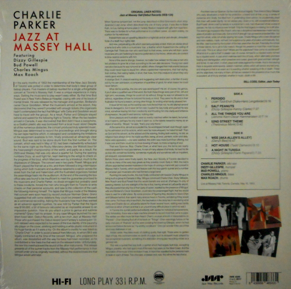 PARKER, CHARLIE jazz at massey hall LP
