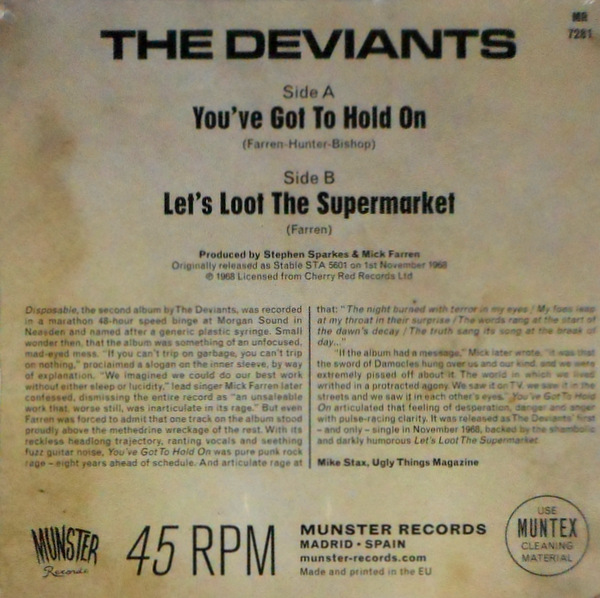 """DEVIANTS, THE you've got to hold on 7"""""""