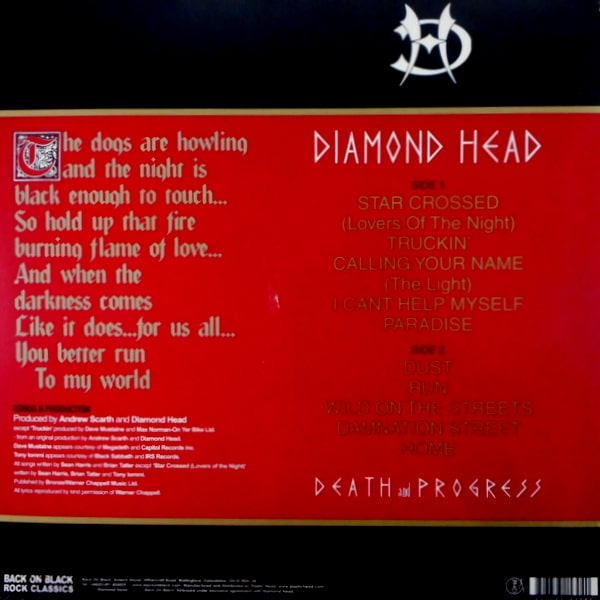 DIAMOND HEAD death and progress LP