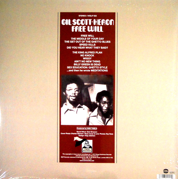 SCOTT-HERON, GIL free will LP back