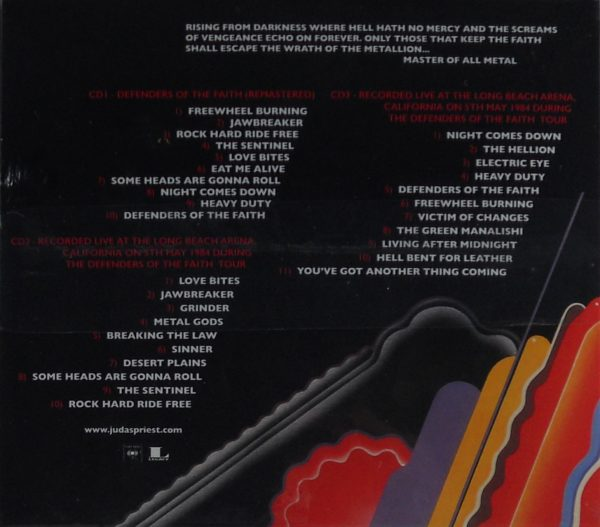 JUDAS PRIEST defenders of the faith - deluxe cd CD back