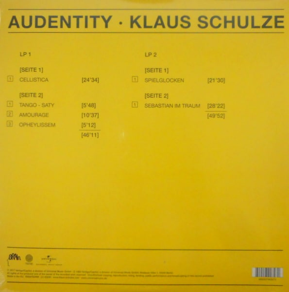 TANGERINE DREAM (KLAUS SCHULZE) audentity LP