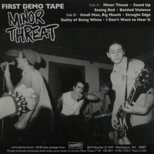 """MINOR THREAT first demo tape 7"""" inch back"""