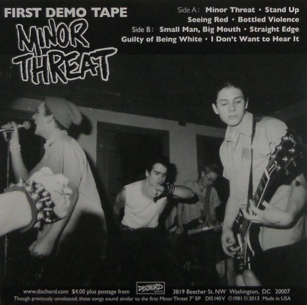 "MINOR THREAT first demo tape 7"" inch back"