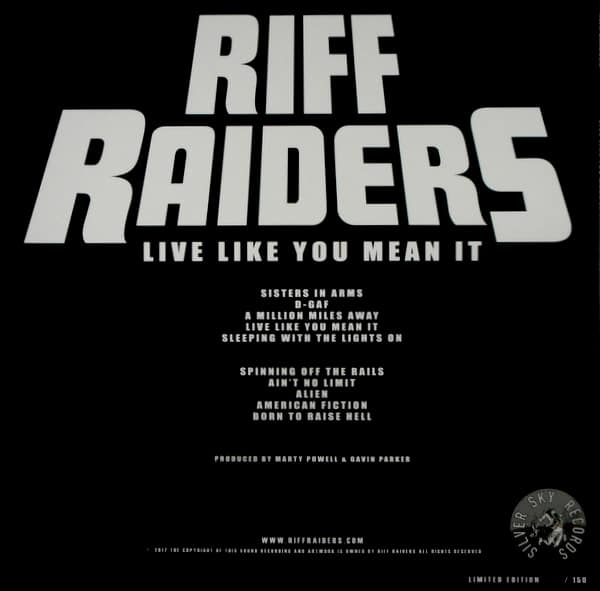 RIFF RAIDERS live like you mean it LP