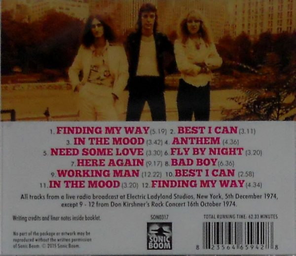 RUSH new york city 1974 CD back