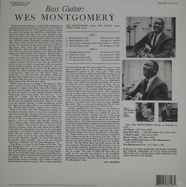 MONTGOMERY, WES boss guitar LP back