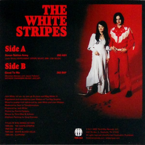 """WHITE STRIPES, THE seven nation army 7"""" back"""