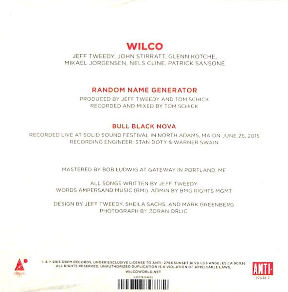 """WILCO random name genrator 7"""" inch single back"""